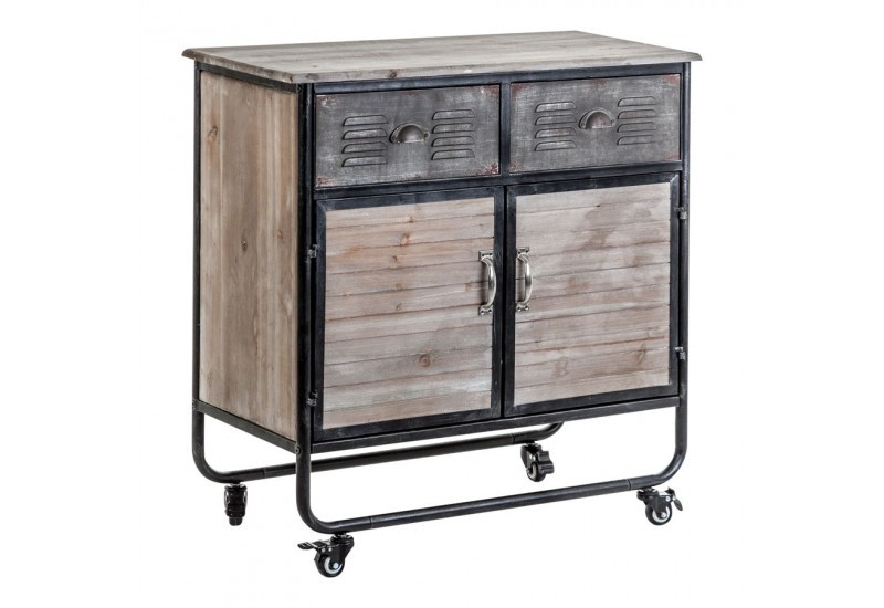 buffet 2 portes industriel sur roulettes en bois persiennes et m ta. Black Bedroom Furniture Sets. Home Design Ideas