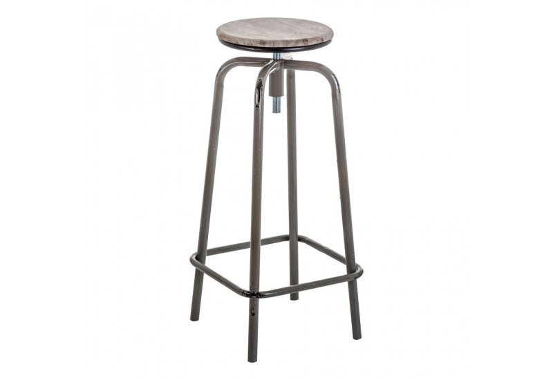 tabouret de bar industriel en m tal noir et assise en bois gris vie. Black Bedroom Furniture Sets. Home Design Ideas