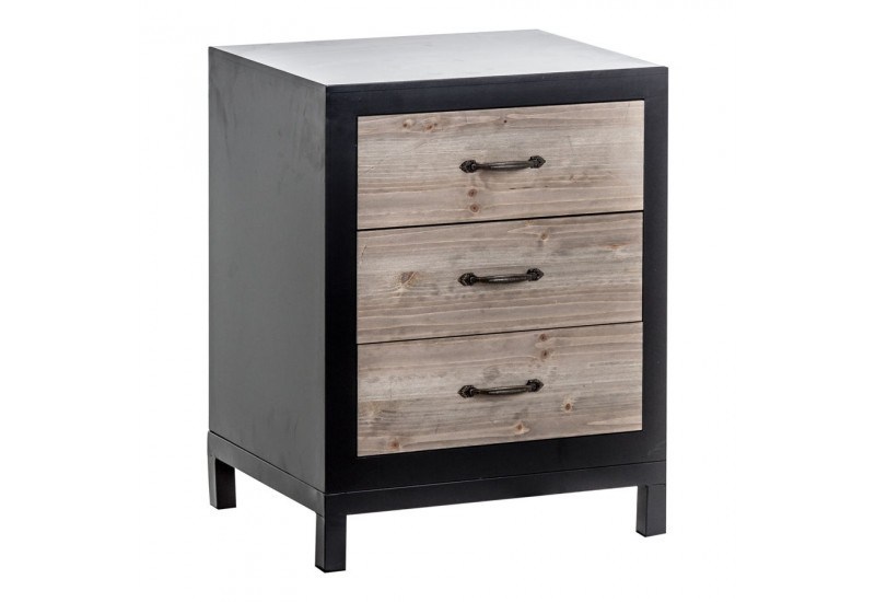 table de chevet r tro en bois brut et m tal noir 3 tiroirs. Black Bedroom Furniture Sets. Home Design Ideas