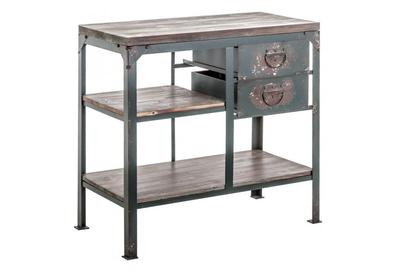 Bureau industriel en m tal gris antique 2 tiroirs vical home vical - Bureau industriel metal ...