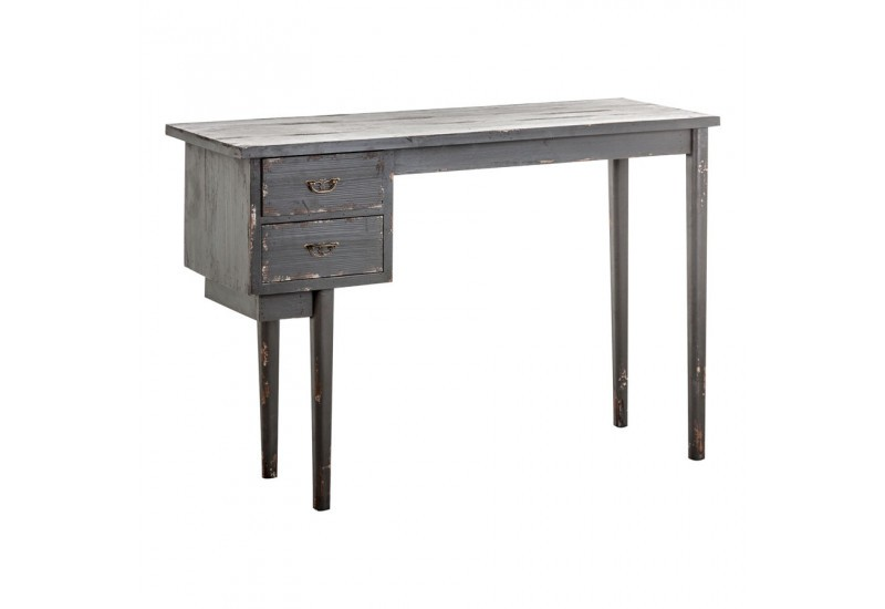 bureau en bois gris vieilli 2 tiroirs vical home vical home 20624. Black Bedroom Furniture Sets. Home Design Ideas