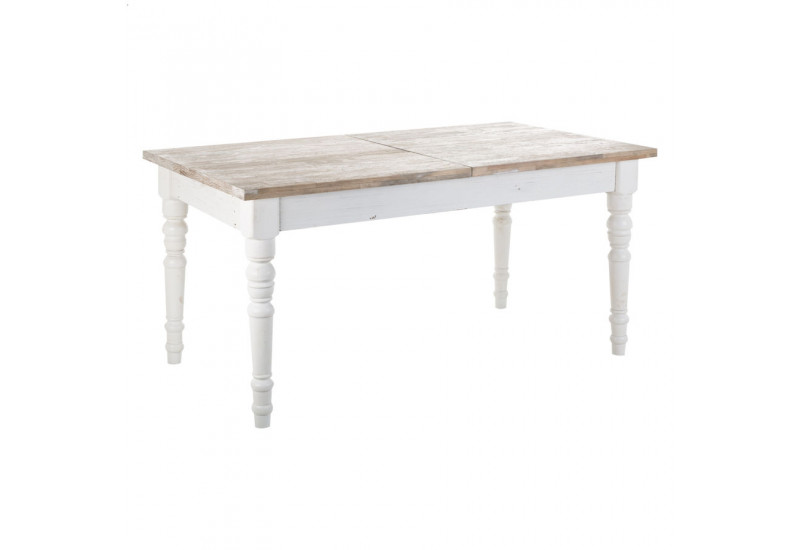 Table manger rectangulaire en bois blanc antique avec for Table a manger bois blanc
