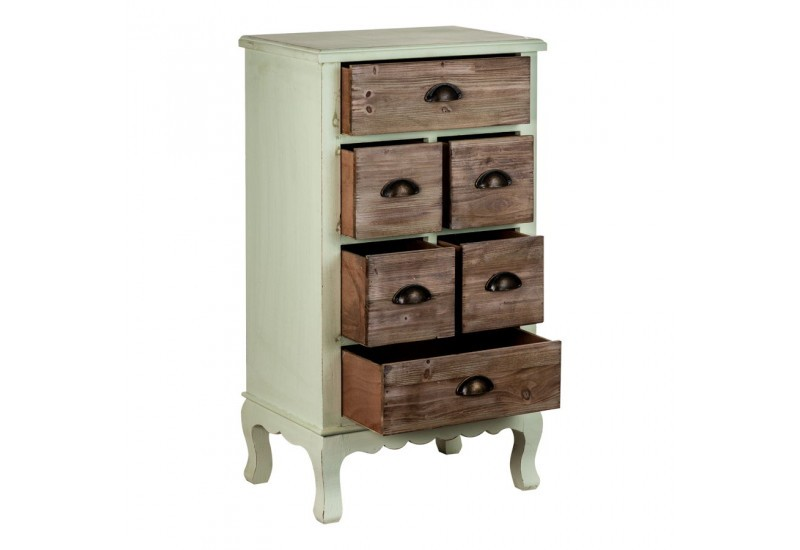 meuble d 39 appoint campagne chic 5 tiroirs en bois blanchi et naturel. Black Bedroom Furniture Sets. Home Design Ideas