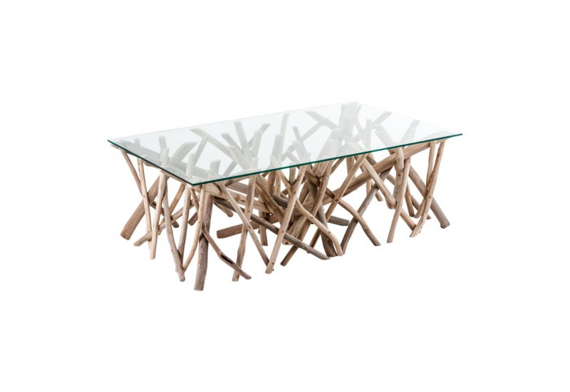 Table basse en bois flotte ronde for Table basse bois flotte