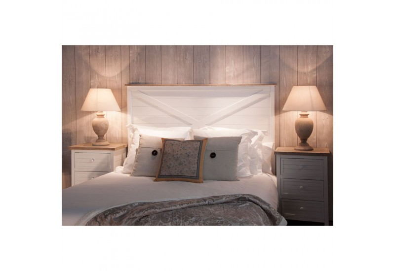 t te de lit nature 160 cm en bois blanchie vical home vical home 20521. Black Bedroom Furniture Sets. Home Design Ideas