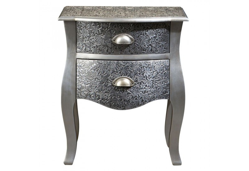 Table de chevet chic argent e 2 tiroirs vical home vical - Table de chevet argente ...