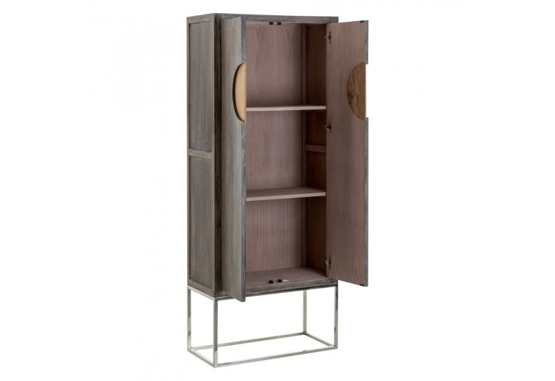 armoire 2 portes colonial en bois gris exotique sur socle inox vica. Black Bedroom Furniture Sets. Home Design Ideas