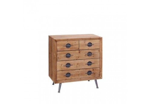 Commode 5 tiroirs Manhattan en bois naturel 80 X 40 X 87 CM