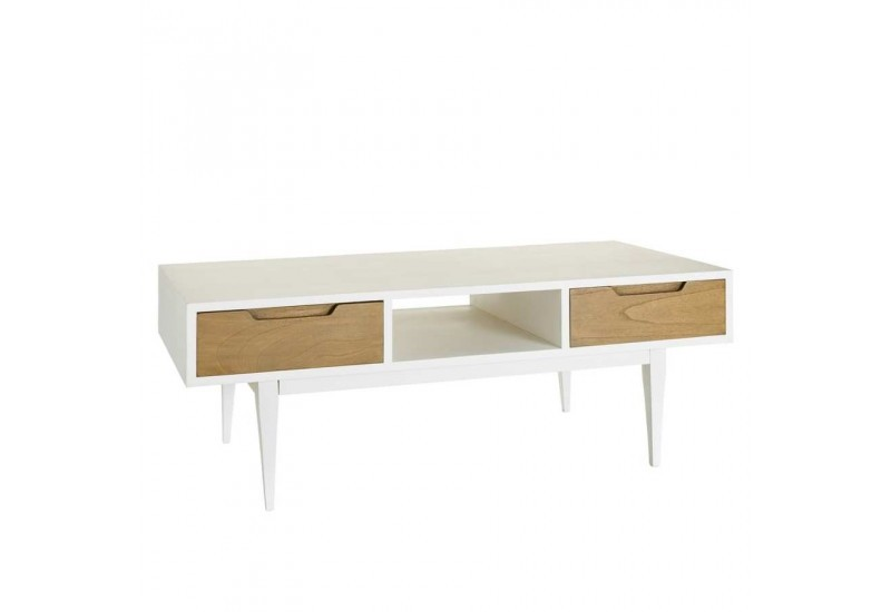 Table basse en bois naturel for Table scandinave blanc et bois