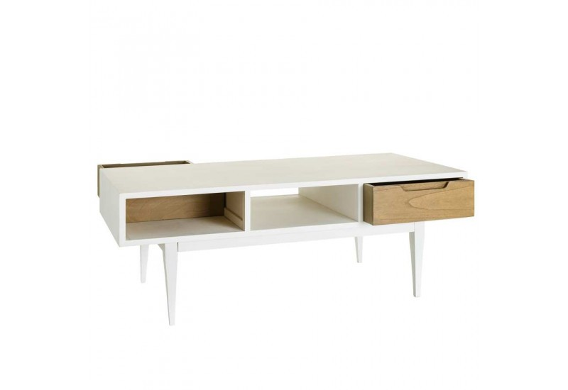 Table basse scandinave en bois blanc et naturel 120 x 60 x 45 cm ai - Table basse en bois blanc ...