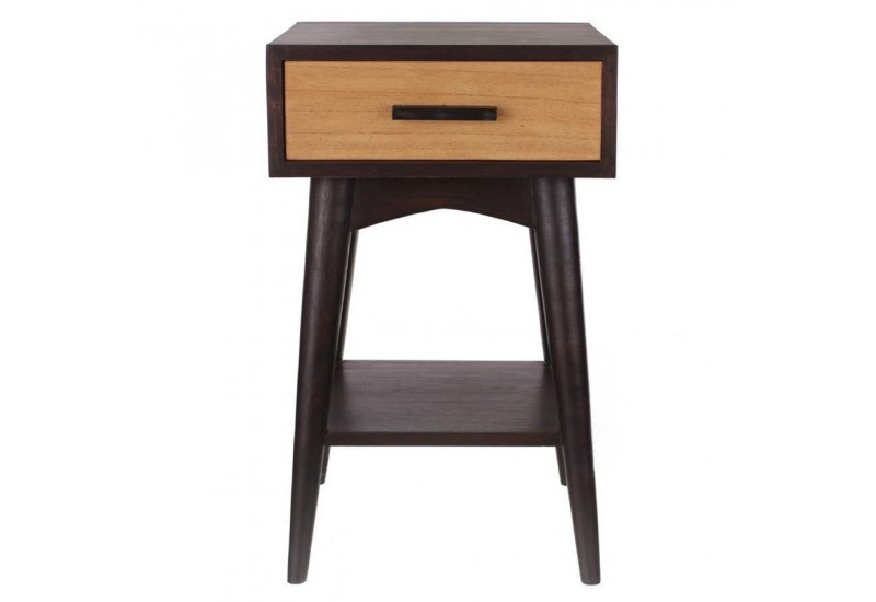 table de chevet 1 tiroir r tro naturel et weng 40 x 40 x. Black Bedroom Furniture Sets. Home Design Ideas