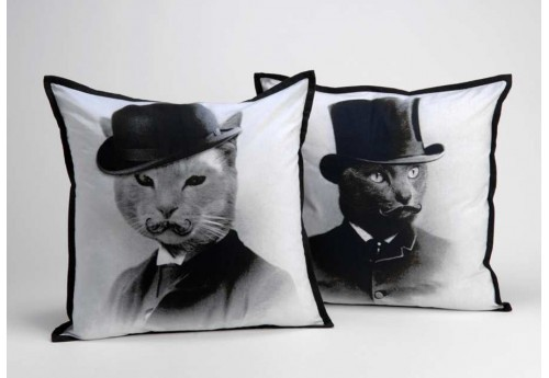 Coussin déhoussable noir Sirs Cats 40X40 cm lot de 2