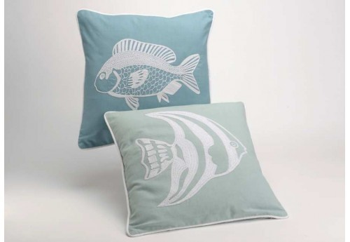 Coussin déhoussable Sea Fish lot de 2 40X40 cm