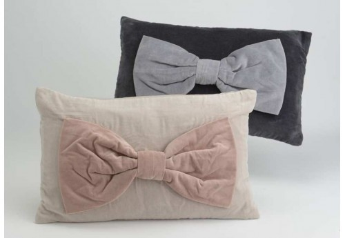 Coussins déhoussable Velours Noeud rose et gris 30X50 cm lot de 2