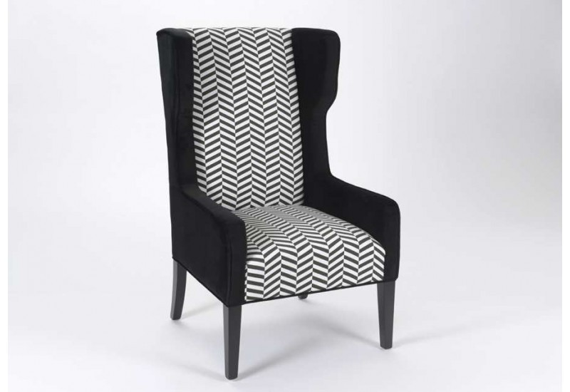 fauteuil chevrons noir et blanc amadeus 21351. Black Bedroom Furniture Sets. Home Design Ideas