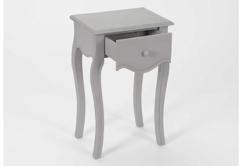 Table de chevet baroque 1 tiroir gris merveille amadeus 21722 - Table de chevet gris laque ...