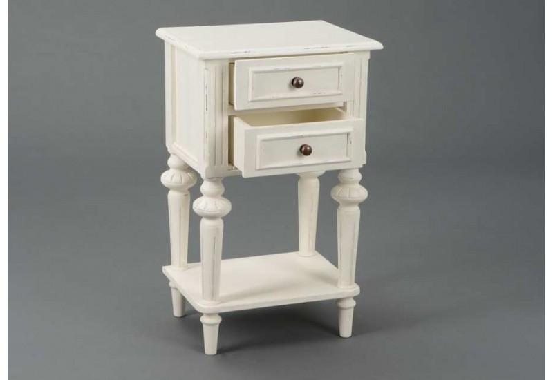 Table de chevet blanche 2 tiroirs perle amadeus 21725 - Table chevet blanche ...
