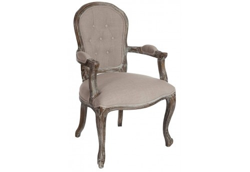Fauteuil Boutons Louisa Chêne Taupe 53X64X98Cm