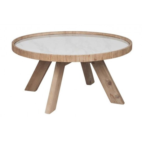 table basse ronde nature bois et c ramique blanche 79x79x40cm j lin. Black Bedroom Furniture Sets. Home Design Ideas