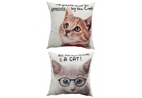 Coussin déhoussable Chat blanc 40X40Cm lot de 2