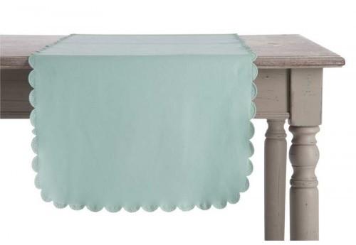 Chemin de table en similicuir bleu Aqua 44X150Cm