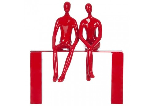 Statut couple assis Rouge 24X10X28Cm