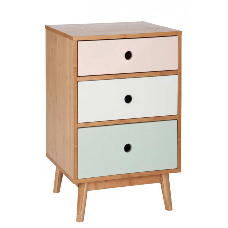 commode scandinave en bois multicolore 3 tiroirs 45x40x71cm j line. Black Bedroom Furniture Sets. Home Design Ideas