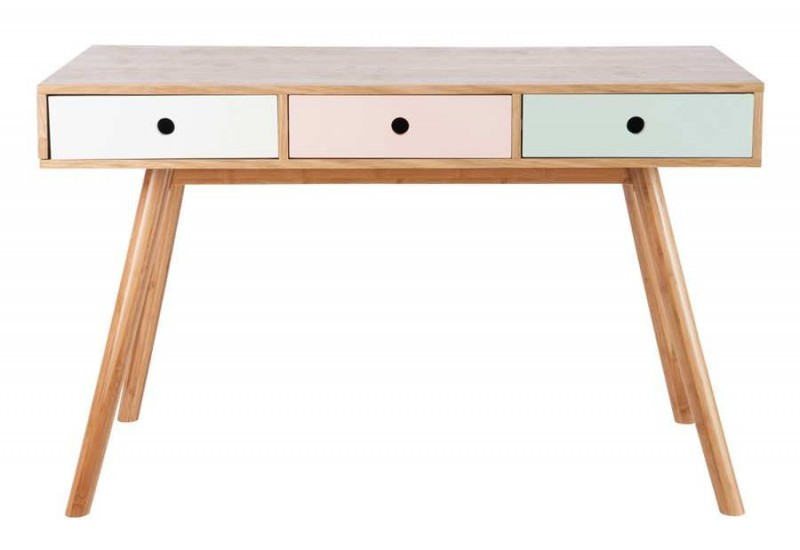 Bureau scandinave en bois multicolore 3 tiroirs for Bureau scandinave