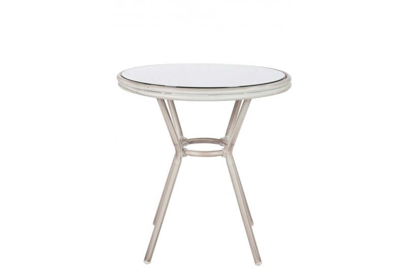 Table ronde hilda en aluminium grise 70x74cm j line by - Table ronde grise ...