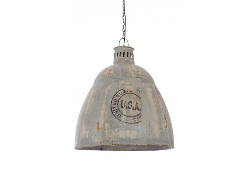 Suspension style industriel usa en m tal gris 45x45x55cm j line by - Suspension type industriel ...