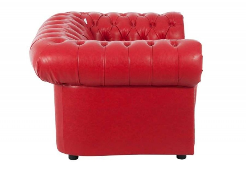 fauteuil chesterfield similicuir rouge 117x98x73cm j line by jolipa. Black Bedroom Furniture Sets. Home Design Ideas