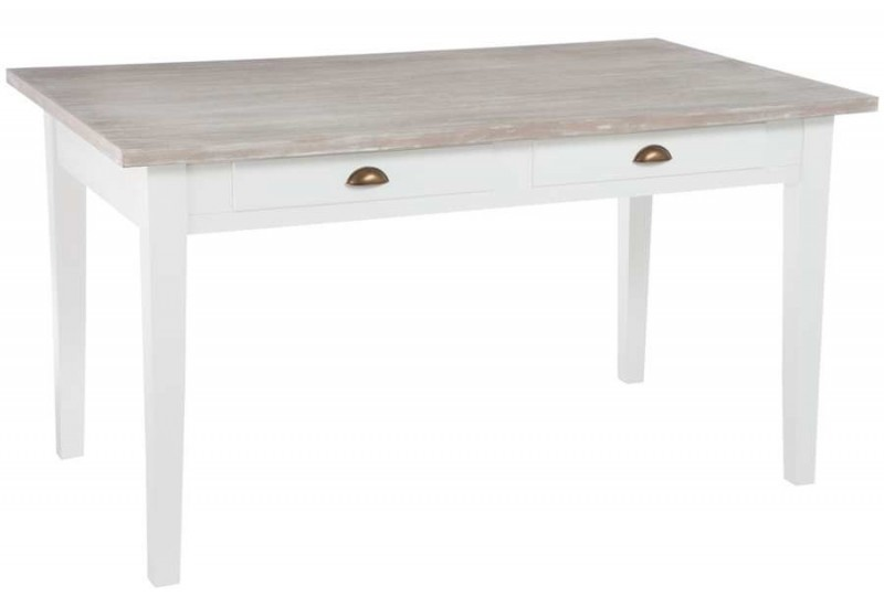 Table manger de style campagne chic blanche 2 tiroirs145x85x80cm - Table style campagne ...