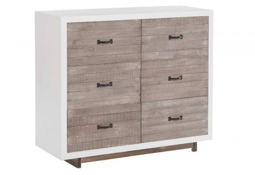 Commode campagne chic blanche et naturel 6 tiroirs 105X38X39Cm