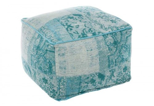 pouf carr chenille bleu turquoise 60x60x40cm j line by jolipa 22250. Black Bedroom Furniture Sets. Home Design Ideas