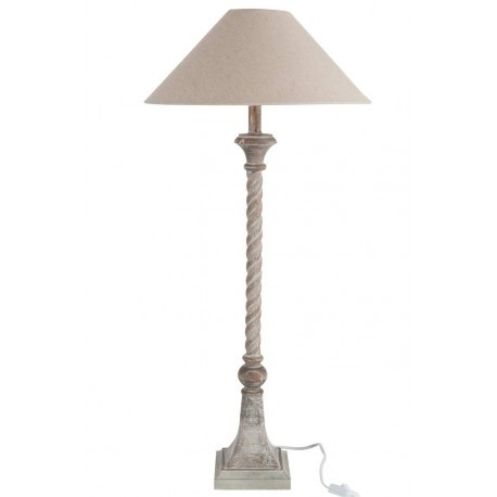 lampe 76 cm pied carr en bois naturel et abat jour beige 12x12x76c. Black Bedroom Furniture Sets. Home Design Ideas