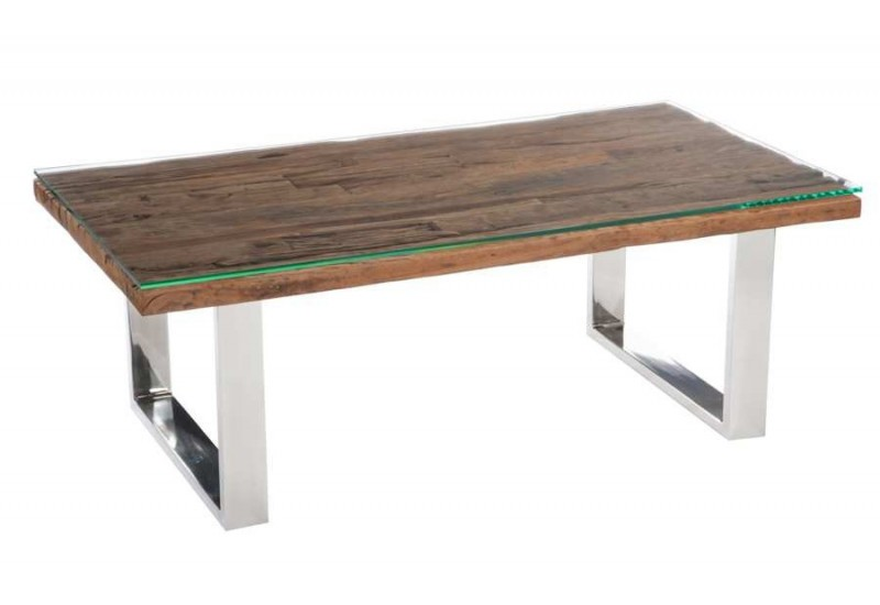 Table basse rectangulaire design nature chrome plateau bois massif ...