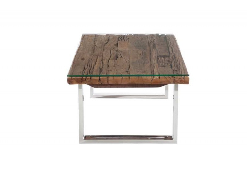 Table basse rectangulaire design nature chrome plateau bois massif - Tables basses verre et bois ...