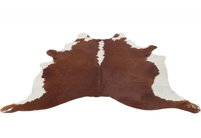 tapis peau de vache en cuir marron et blanc j line by jolipa 22368. Black Bedroom Furniture Sets. Home Design Ideas