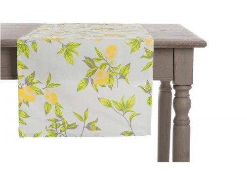 Chemin de table citron en coton jaune 40X140Cm