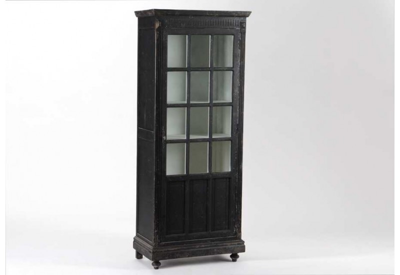vitrine vintage noir antique 1 porte amadeus 21794. Black Bedroom Furniture Sets. Home Design Ideas