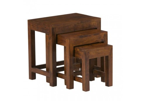lot de 3 tables gigognes en bois Acacia