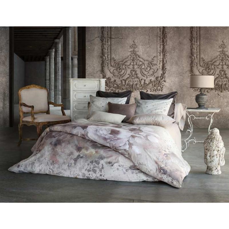 housse de couette aquarelle visuel fleurs de lys gris clair 220x240. Black Bedroom Furniture Sets. Home Design Ideas