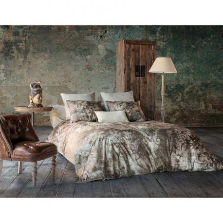 housse de couette aquarelle visuel arabesque marron 220x240 cm vica. Black Bedroom Furniture Sets. Home Design Ideas