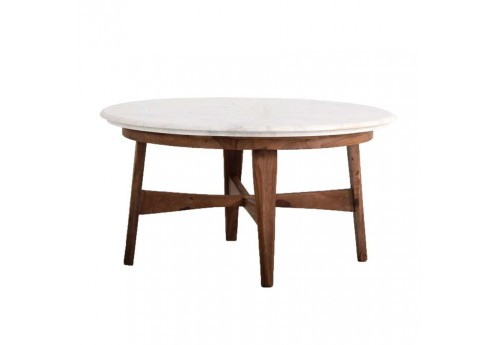 Table basse ronde scandinave naturel plateau blanc