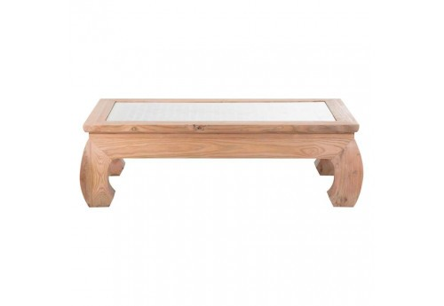Table basse coloniale en orme plateau sculpt e avec verre - Table basse coloniale ...