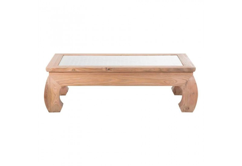Table basse coloniale en orme plateau sculpt e avec verre vical hom - Table basse coloniale ...