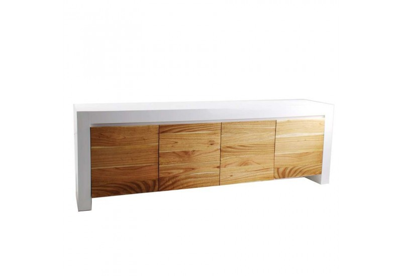 buffet exotique en bois massif blanc 4 portes naturel vical home 22623. Black Bedroom Furniture Sets. Home Design Ideas