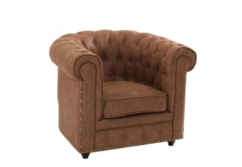 Fauteuil chesterfield capitonn marron vieilli vical home - Fauteuil cabriolet chesterfield ...
