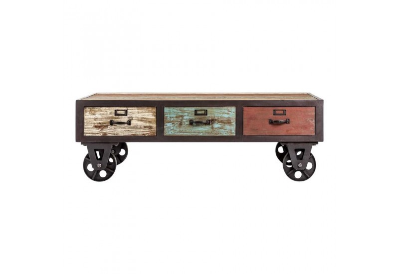 Table basse industrielle en m tal et bois multicolore sur - Table basse multicolore ...