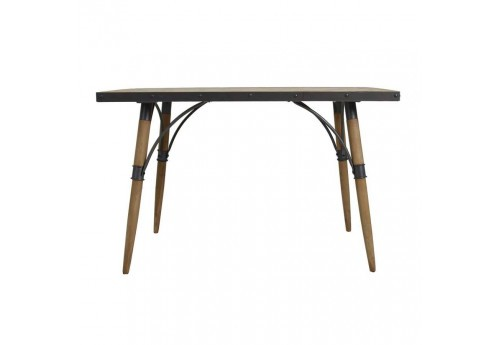 Table manger industrielle m tal noir et bois brut vical for Table a manger bois brut